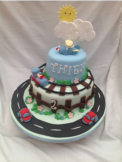 Cars and Trains Birthday Cake
