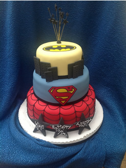 Superman, Spiderman, Batman Superheroes Birthday Cake