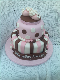 Girls Pink Tiered Christening Cake
