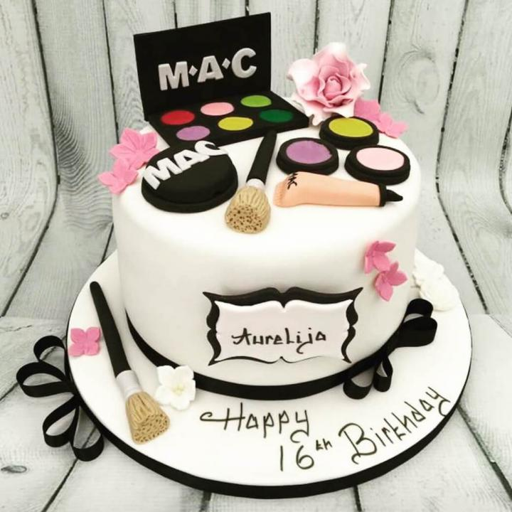 16th Birthday Cake With Makeup Theme