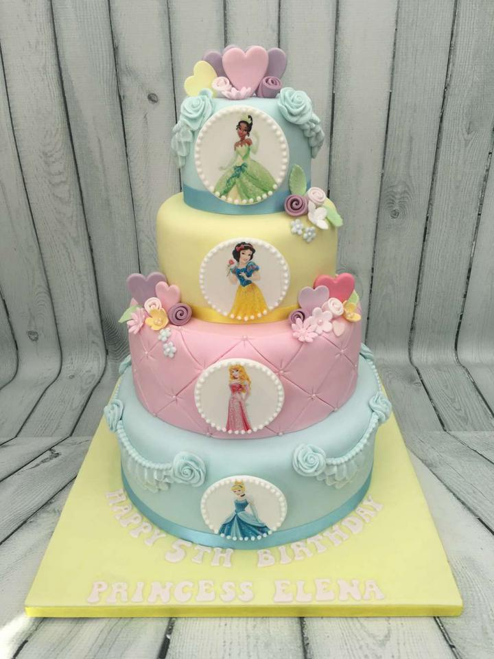 Four Tier Disney Princess Cake Birthday