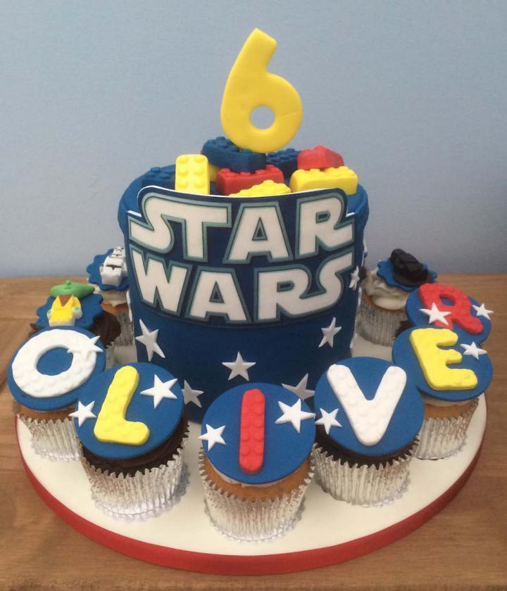Star Wars Birthday Cake and Cupcakes