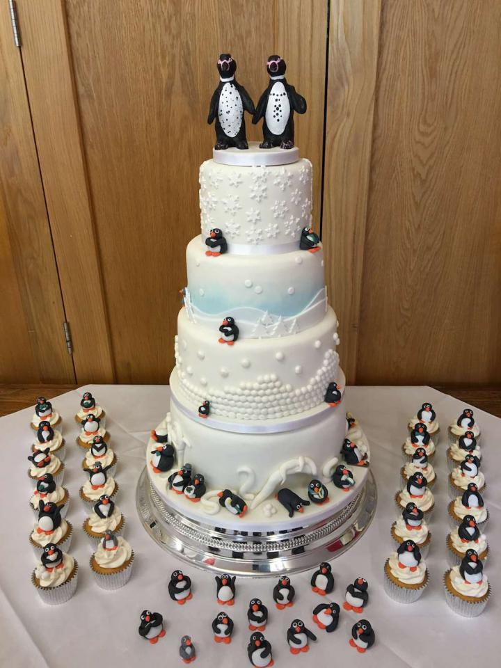 4 Tier Penguin Themed Wedding Cake