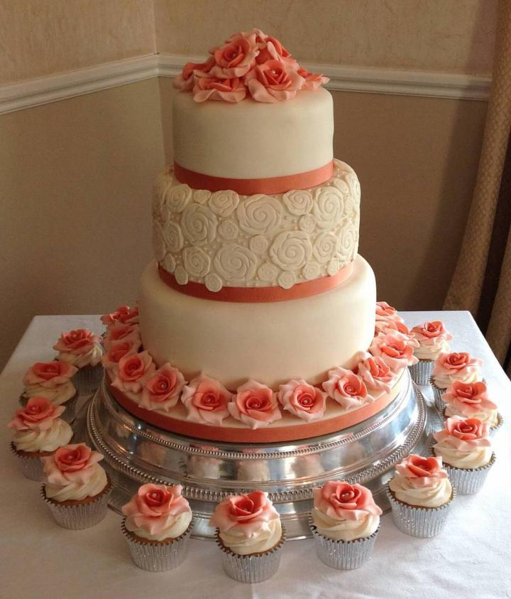 3 Tier Wedding Cake and Cupcakes