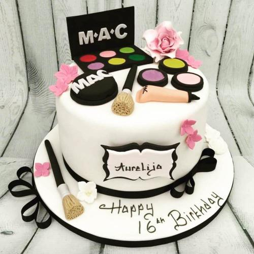 16th Birthday Cake with Makeup Theme