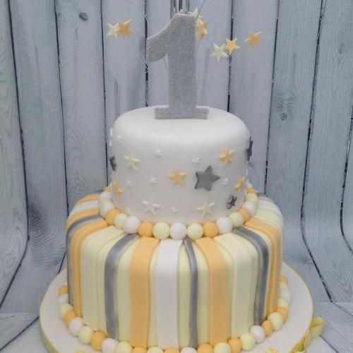 Two Tiered 1st Birthday Cake