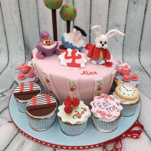 Alice in Wonderland Birthday Cake with Cupcakes