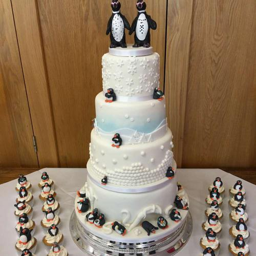 4 Tier Penguin Themed Wedding Cake