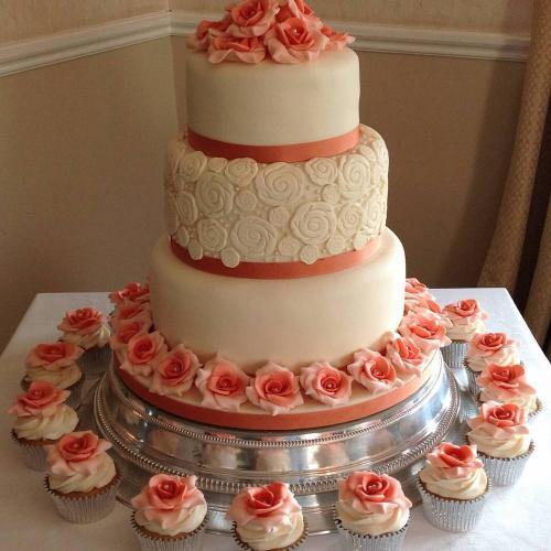 3 Tier Wedding Cake and Cupcakes